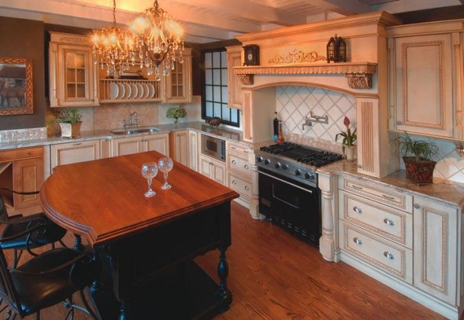 Ornate Kitchen, Custom Hood, Cream Cabinet With Glaze
