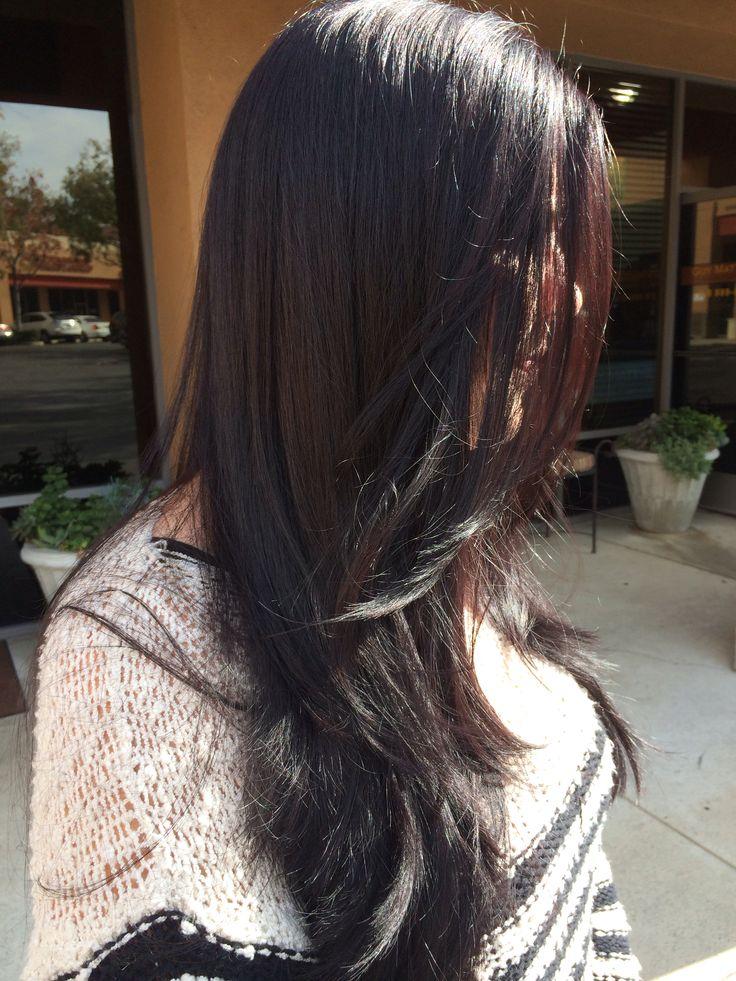Dark Violet Brown Hair Long Round Layers