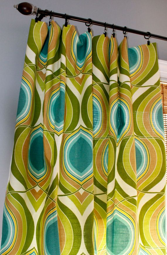 TealTurquiose Lime Green Yellow And Ivory Geometric Pillow Cover In Designer HGTV Fabric UX