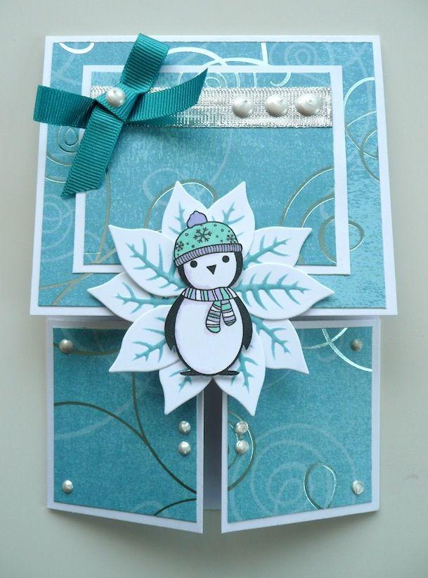Xmas Penguin Dutch Fold Card Card Ideas
