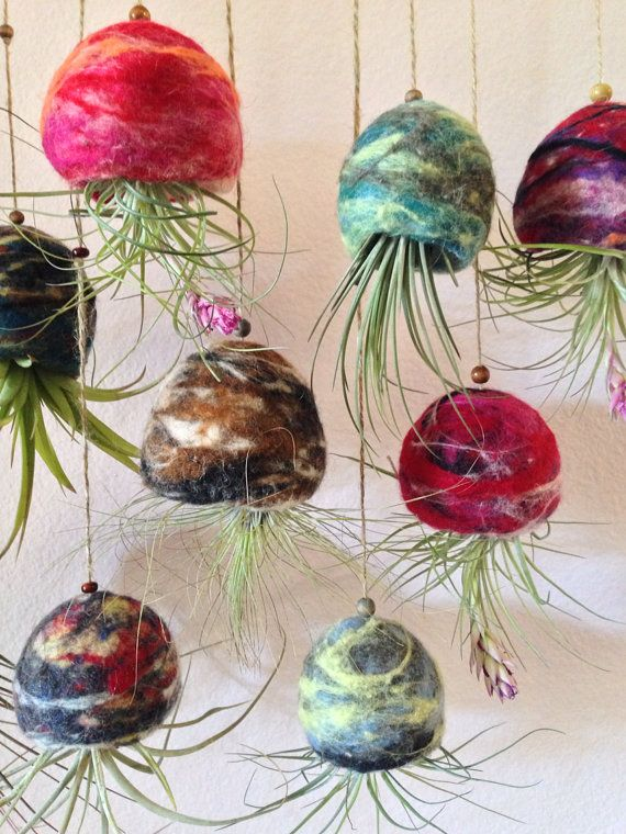 Wholesale Handmade Felted Wool Pots Air Plant Terrariums