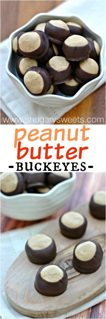 Peanut Butter Buckeyes: a soft peanut butter filled candy famous in Ohio. Make a batch today!