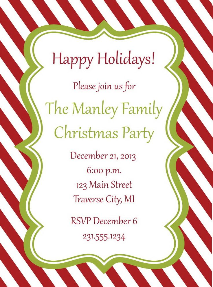 Candy Cane Christmas Party Invitations Everything