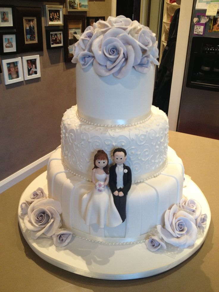 3 Tier Wedding Cake With Lilac Hand Made Sugar Roses 9