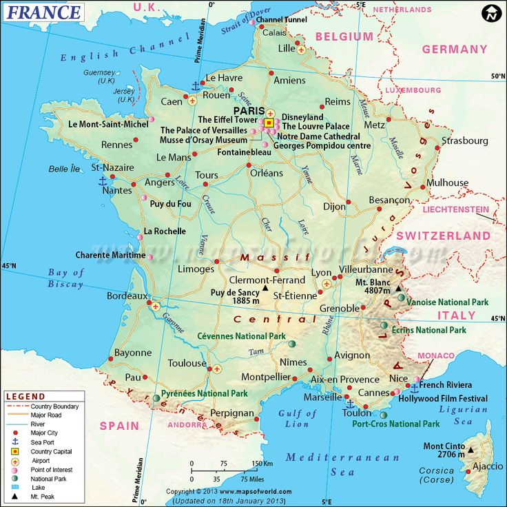 France Map showing the capital city Paris with major