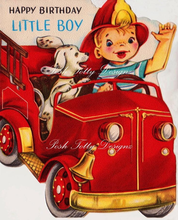 1950s Happy Birthday Little Boy Fire Chief Vintage