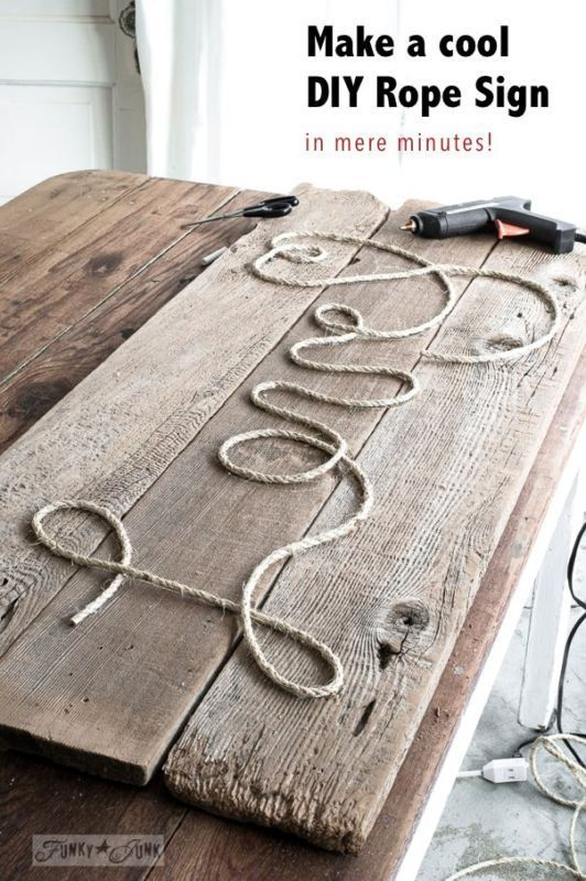 Make a cool DIY Rope Sign… in minutes! By Funky Junk Interiors for Ebay