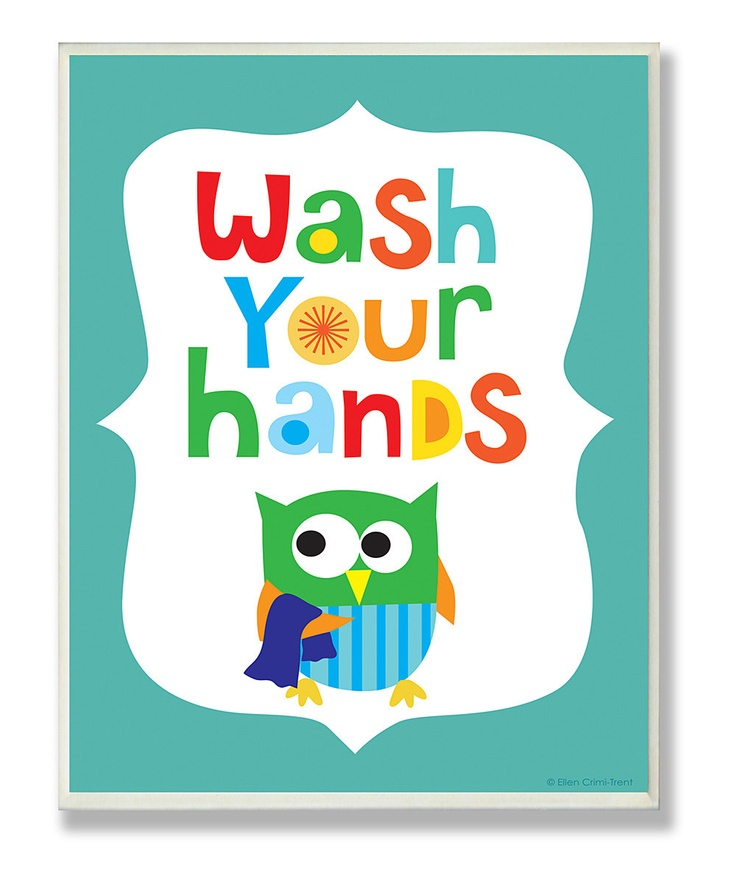 The Kids Room by Stupell Blue 'Wash Your Hands' Wall Sign