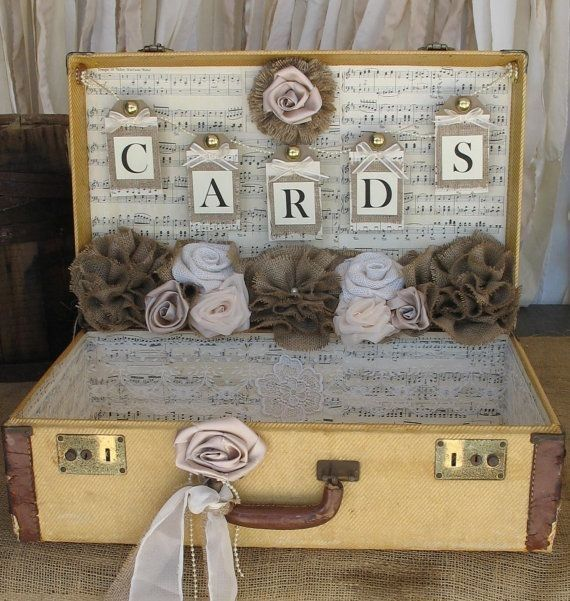 2014 rustic banner Suitcase Card Box, vintage Suitcase Wedding Card Holder, Wedding Card