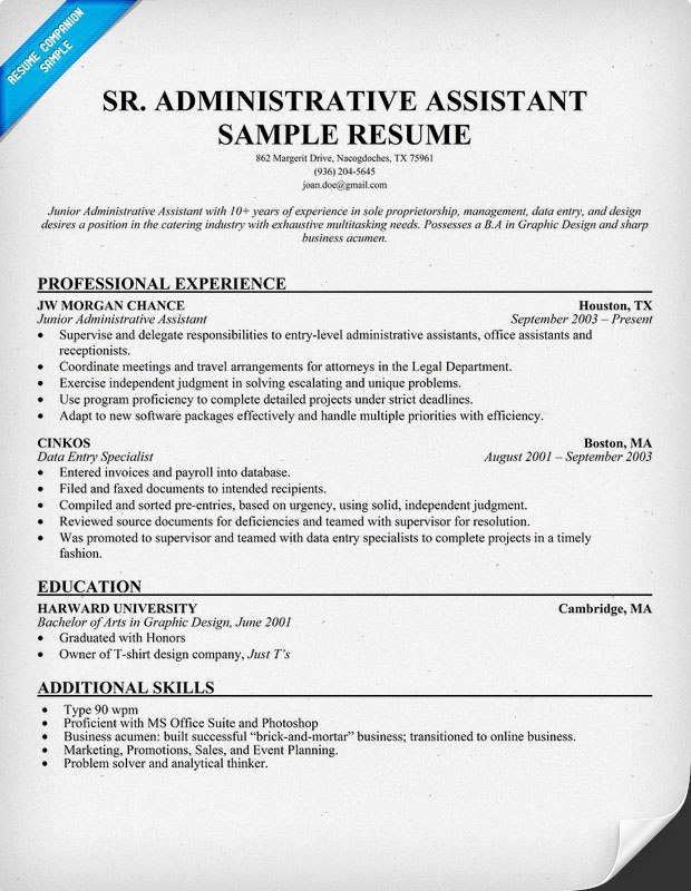 Senior Administrative Assistant Resume