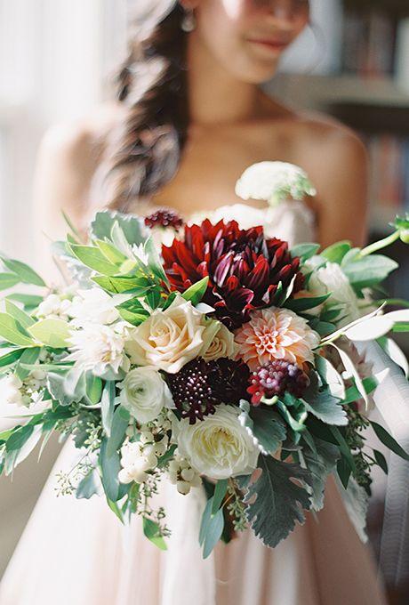 Romantic Dahlia Amp Rose Centerpiece Best Burgundy Bouquet