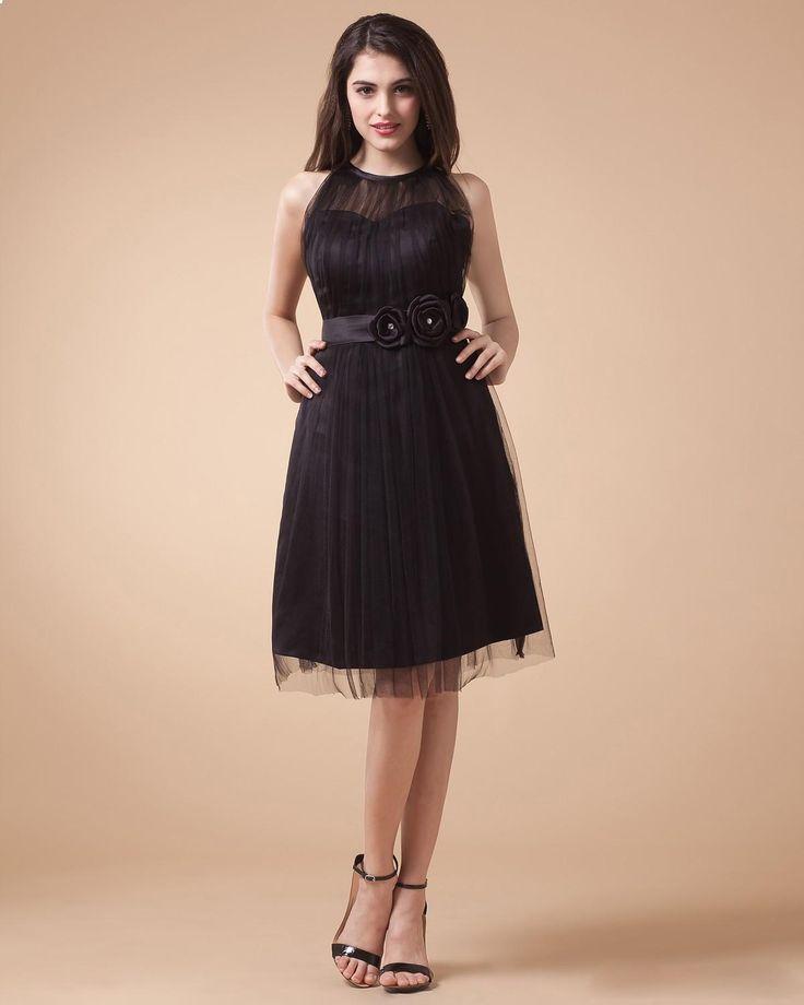 Slleveless knee length tulle evening dress