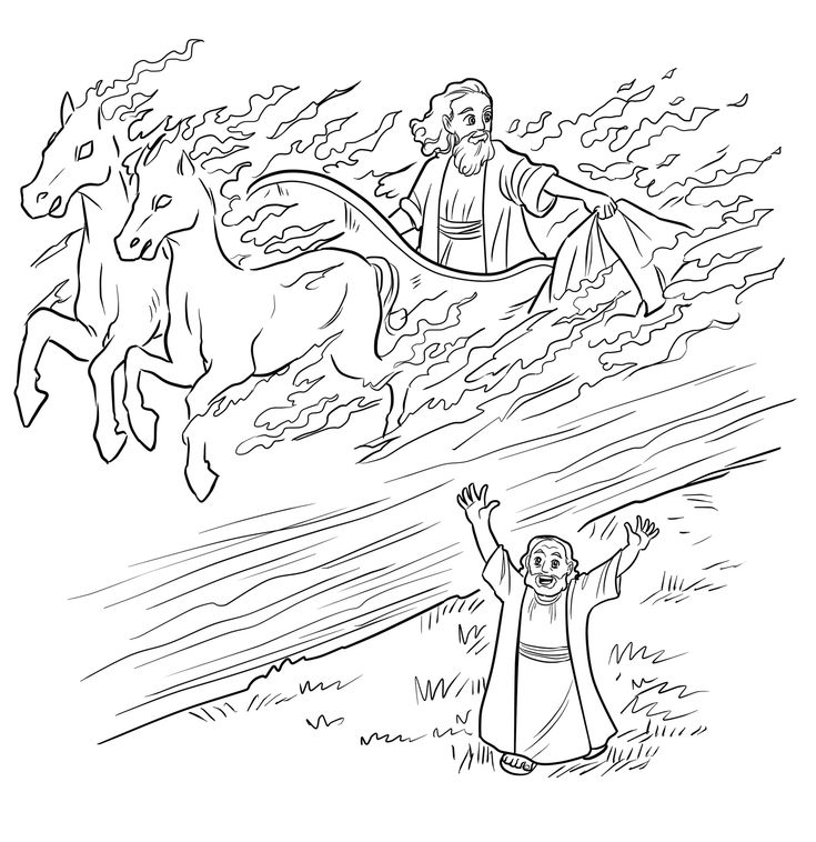 elijah and chariot of fire coloring page  children's