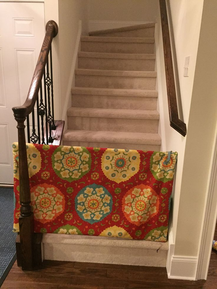 my first DIY project, baby gate for bottom of stairs. used