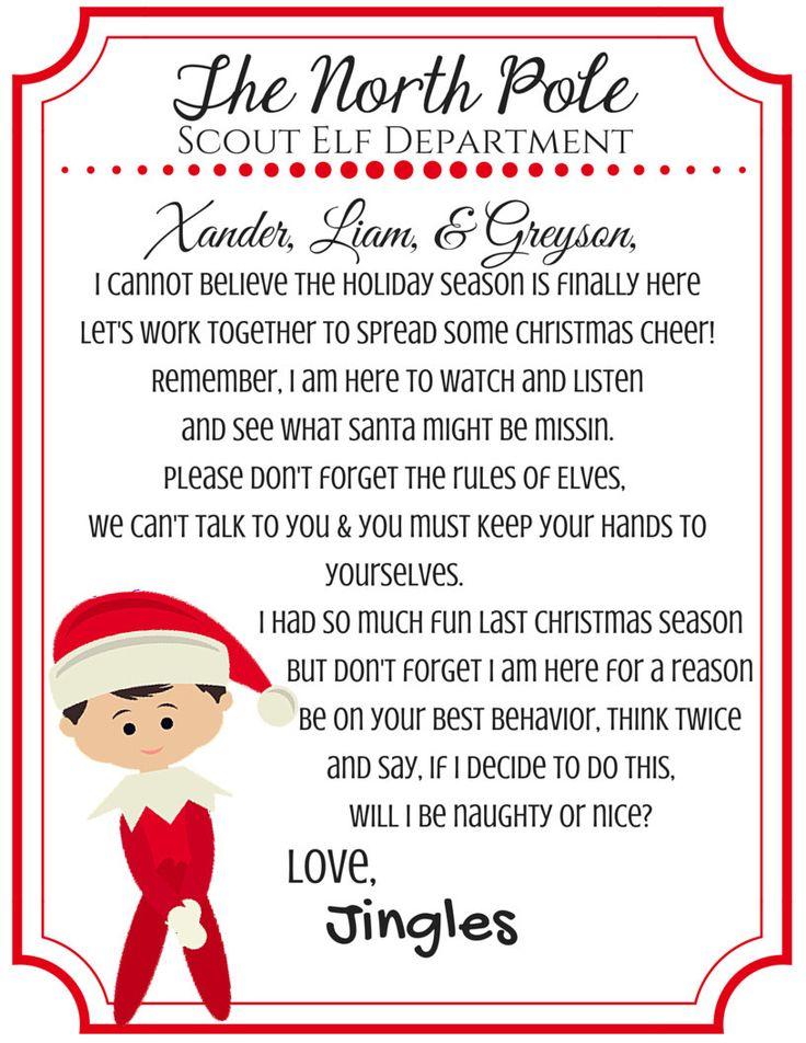 Shelf Elf Return Letter Scout Elf Elf on the Shelf