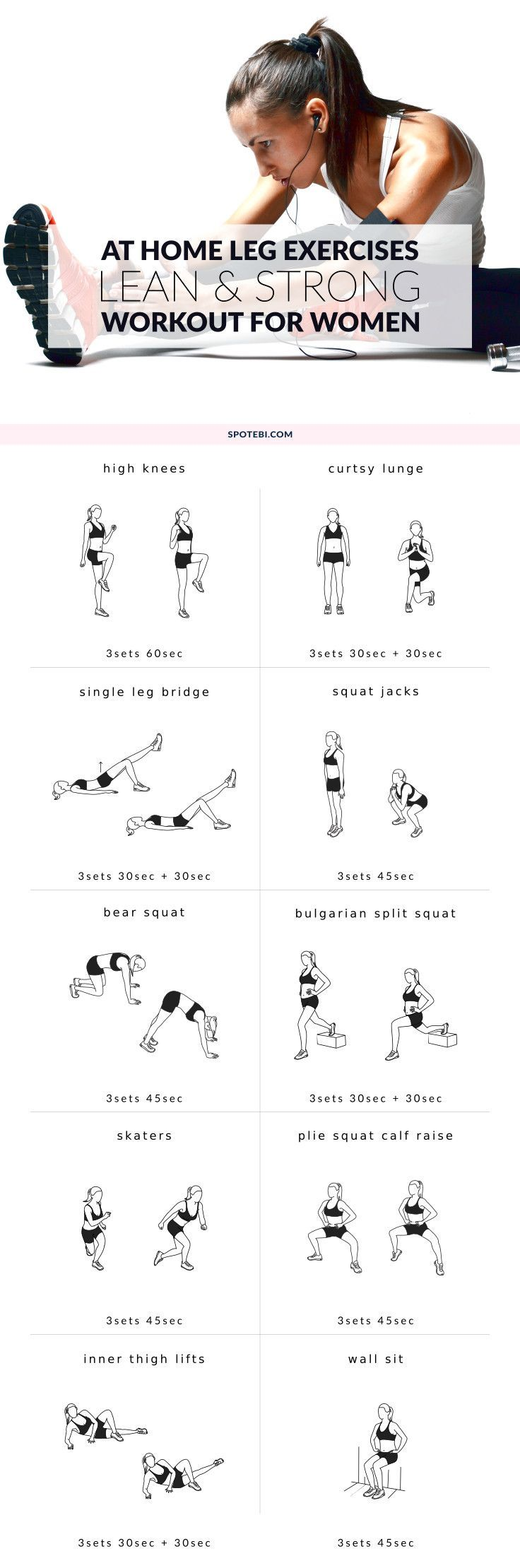 Upgrade your workout routine with these 10 leg exercises for women. Work your thighs, hips, quads, hamstrings and calves at home