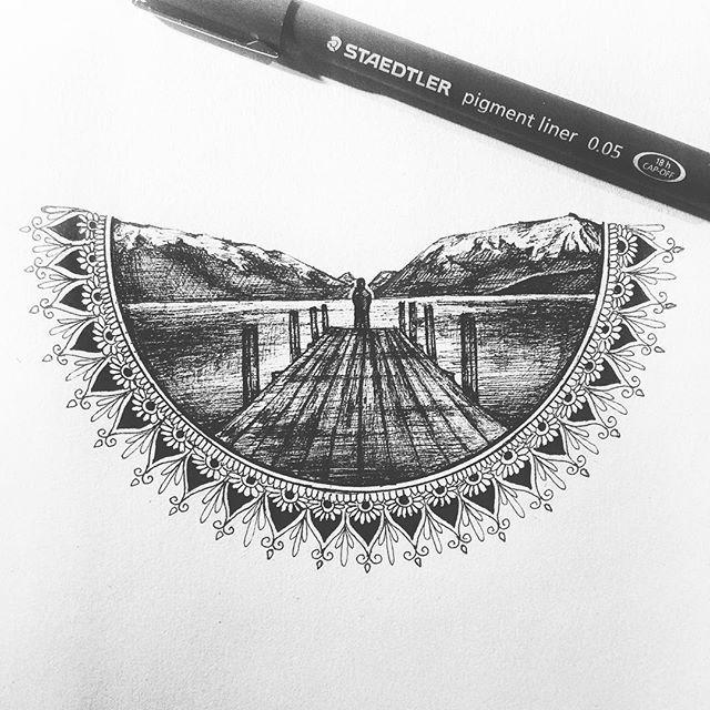 Pen Drawing Mountain Beauty