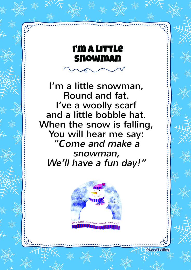 I'm A Little Snowman Kids Video Song with FREE Lyrics