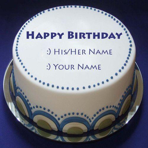 Write Name On Happy Birthday Blue Lagoon Cake Print Name
