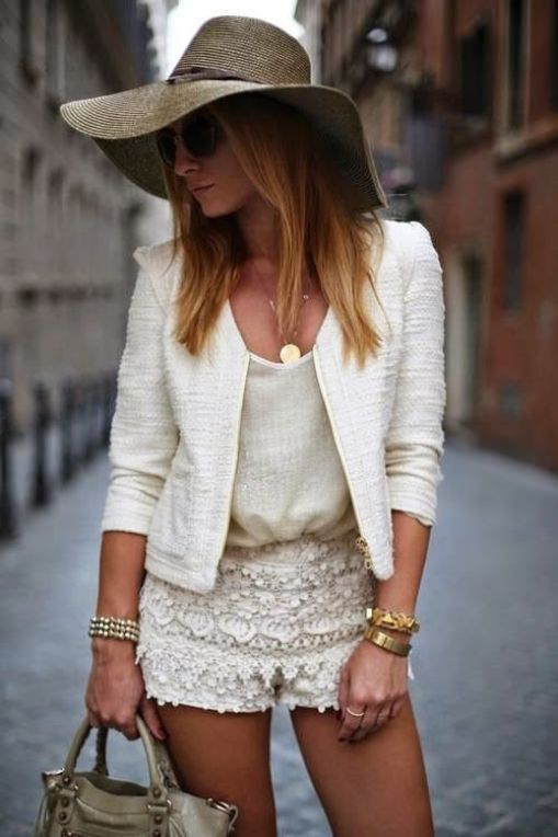 Street Style Chic - lace shorts. cream and ivory: