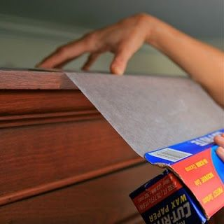 Place a layer of waxed paper on top of kitchen cupboards to prevent grease and dust from settling. Switch out every few months to