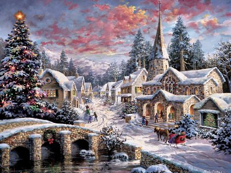 Village Christmas Art Artwork Christmas Cityscape