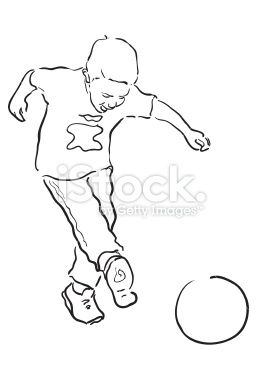Young Boy Playing Soccer Line Drawing Royalty Free Stock