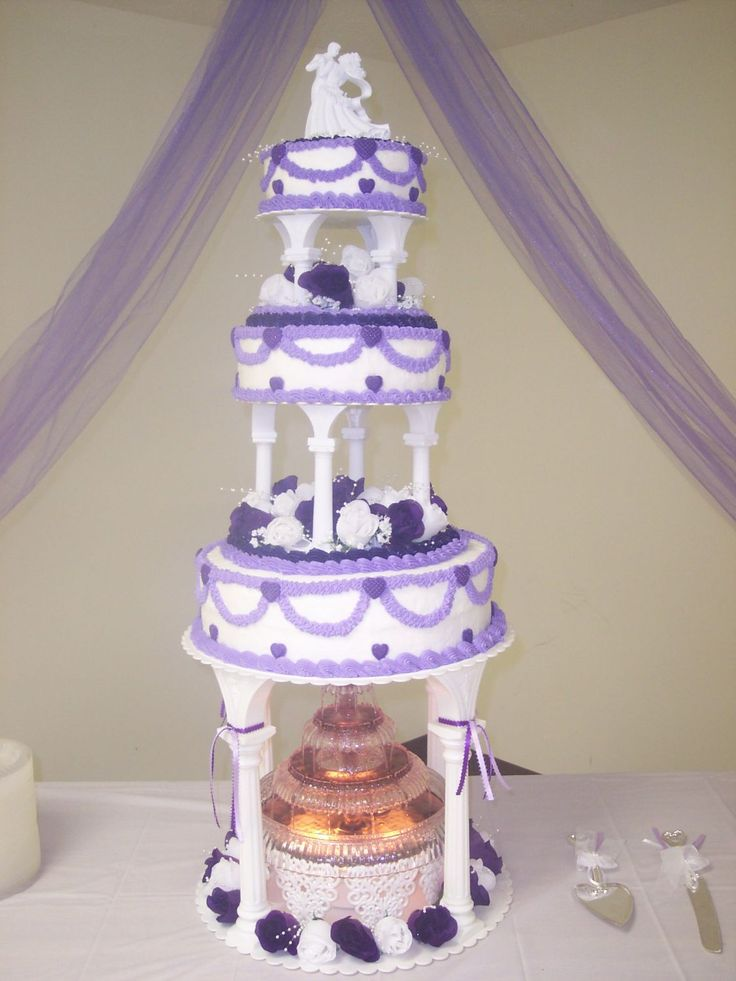 Purple Hearts Amp Swags Wedding Cake W Fountain This Was