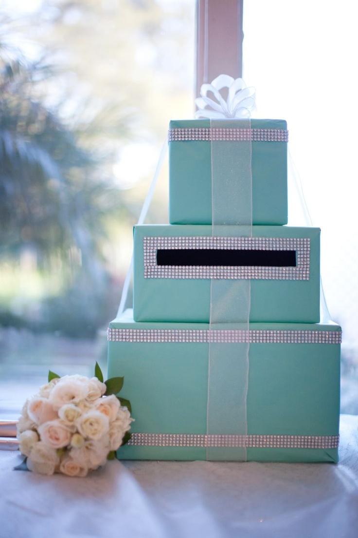 Custom made Tiffany blue wedding bling rhinestone card