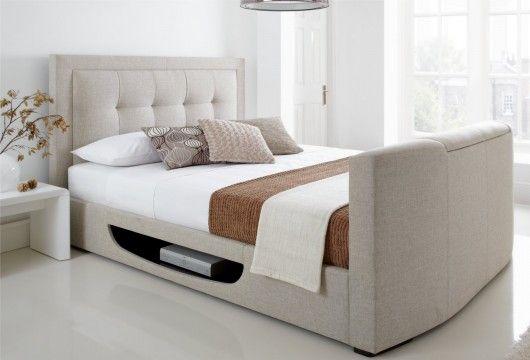 New Kaydian Bowburn Upholstered Tv Bed Oatmeal Fabric