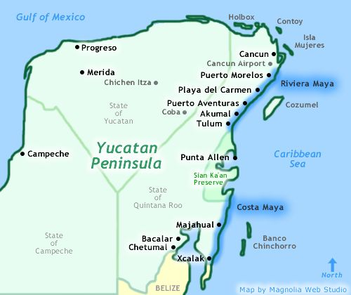 Map Of Yucatan Showing Cancun Playa Del Carmen Riviera Maya And Costa Maya Travel Mxico