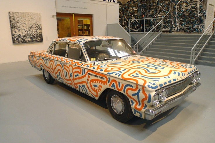 car painted by Keith Haring. Part of the current MOCA show