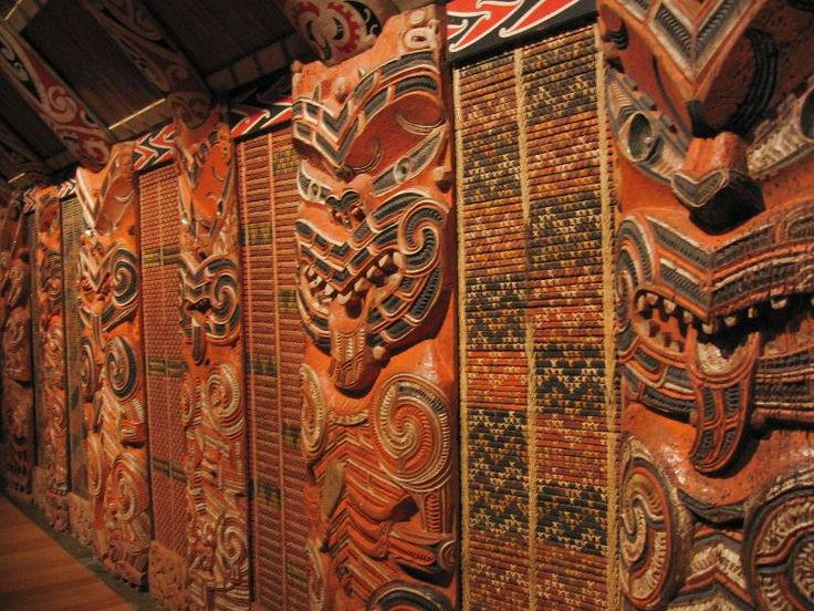 Interior Wall Decoration In A Wharenui Meeting House New Zealand Both Interior And Exterior