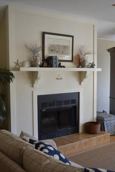 love the beadboard around the fireplace. threepixielane ...