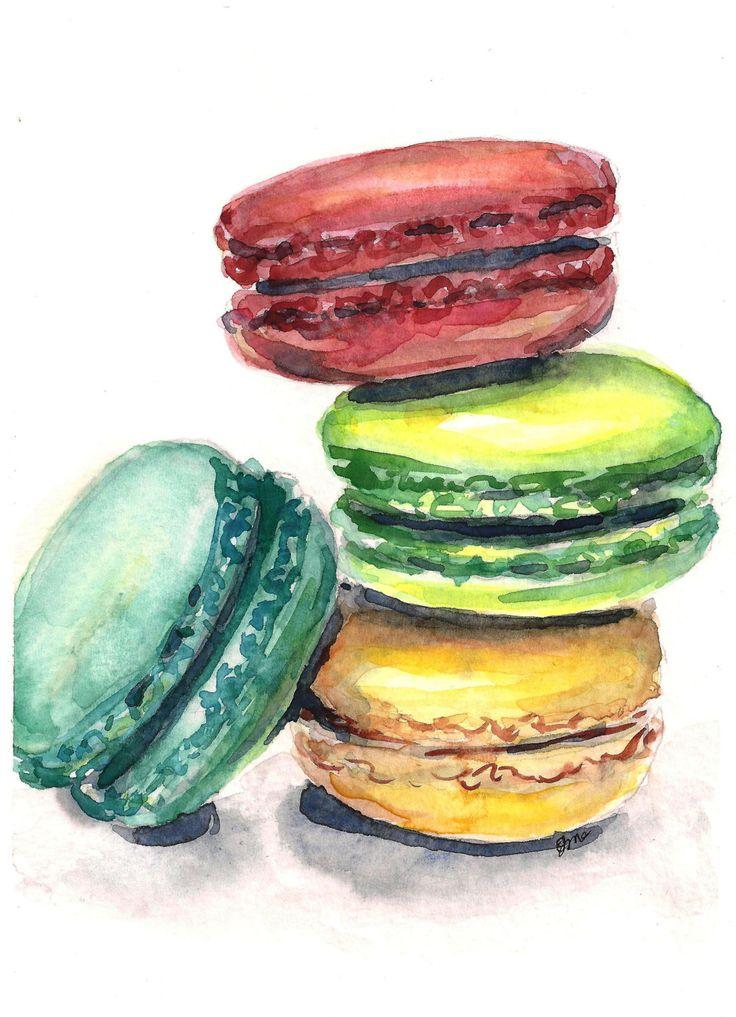 Macaron painting macaroon art watercolor