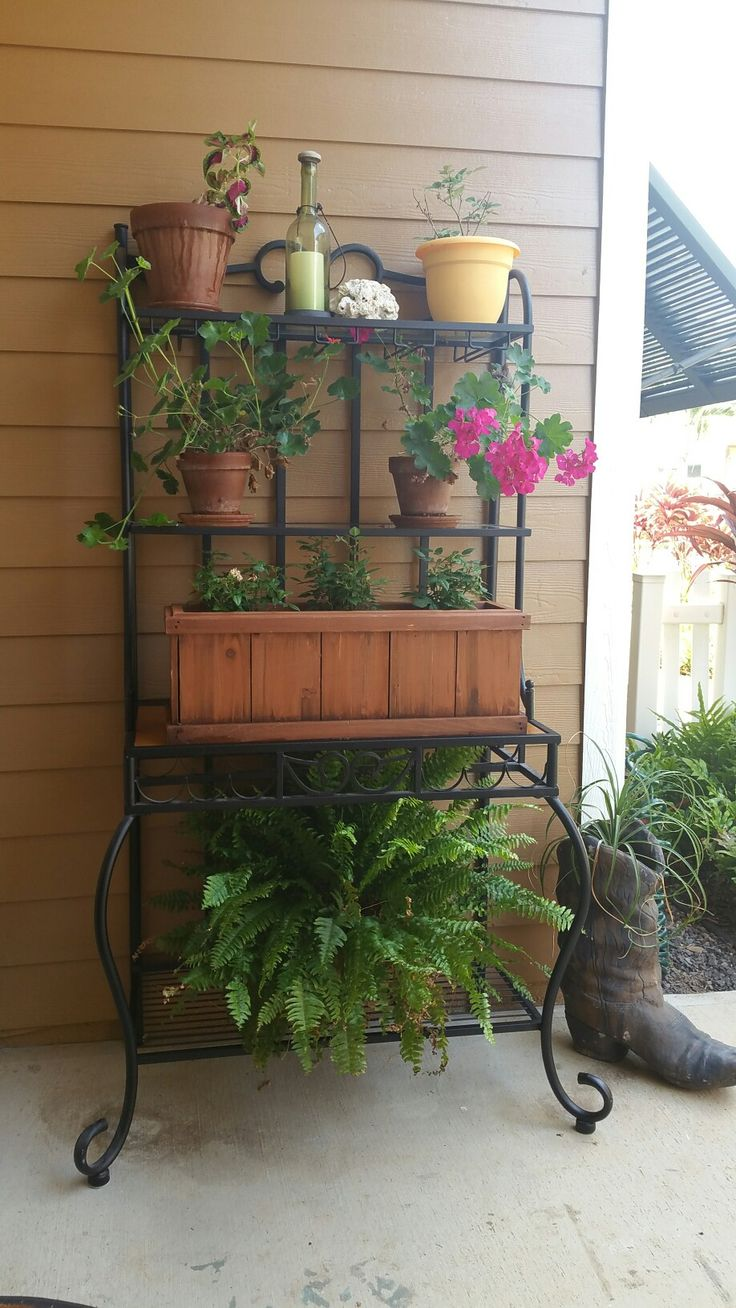 Repurpose bakers rack front porch living Pinterest