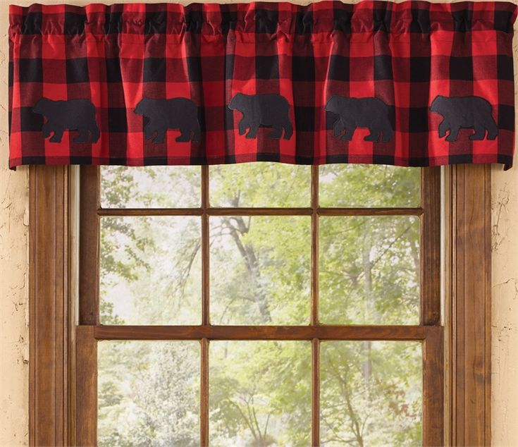 Buffalo Check Bear Curtain Valance 58 X 14 Rustic Lodge Amp Cabin Decor Pinterest