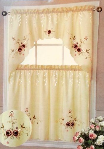 Paradise Kitchen Tiers And Swag 3pc Curtain Set Burgundy By Dainty Home 1499 2 Pcs Tiers
