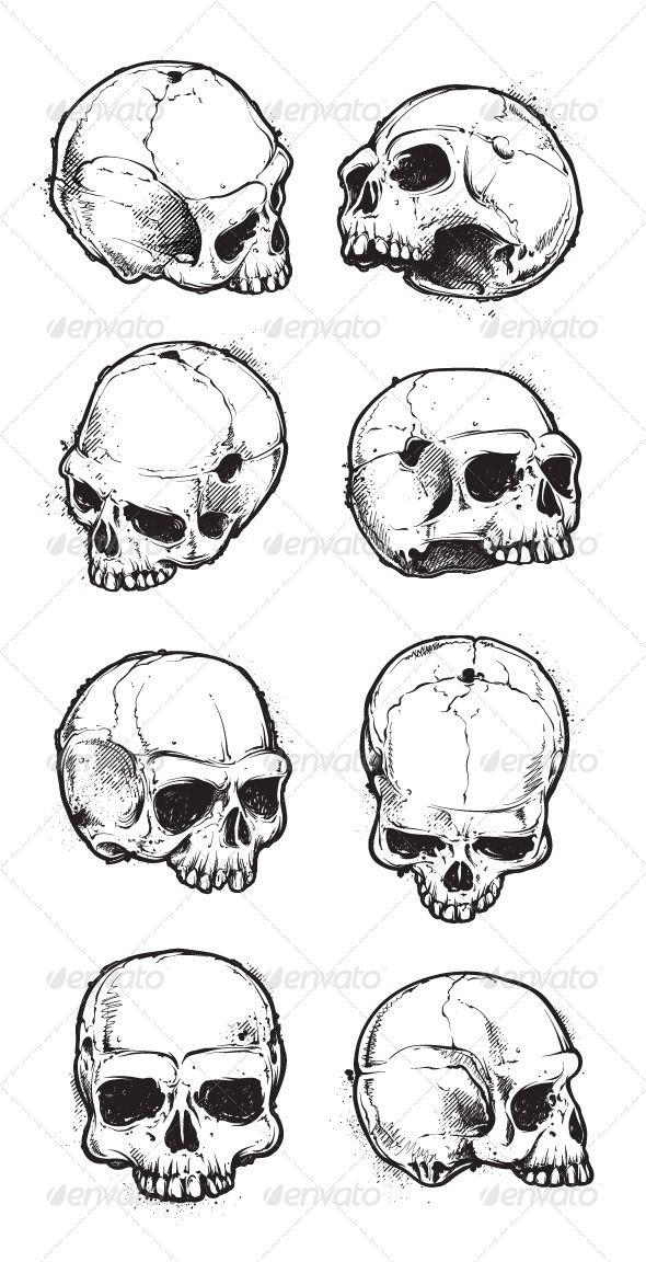 Hand Drawn Skulls Set Hand drawn and Skeleton drawings