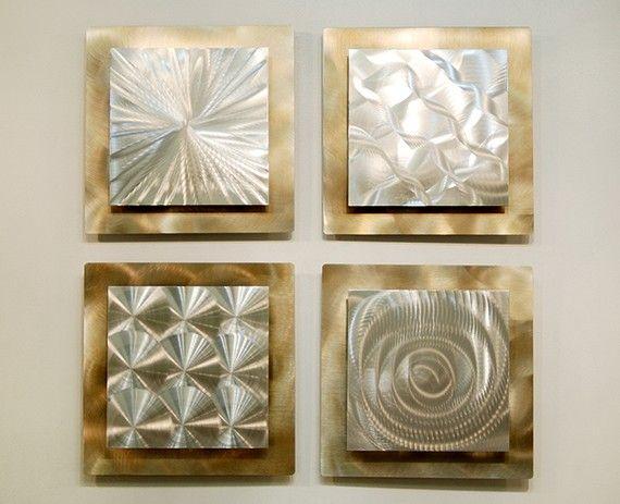 Silver & Gold Modern Metal Wall Sculpture
