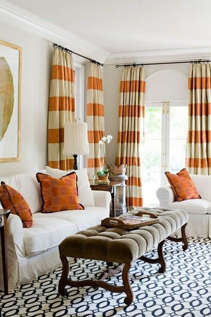 Orange Striped Curtains With Blue Patterned Rug Love The Rug And Curtains In Different Colors