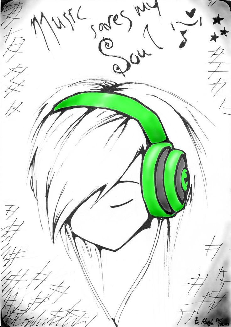 easy anime drawings Music saves my Soul Colour by