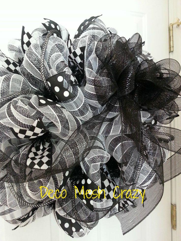 Black And White Deco Mesh Wreath Wwwfacebookcom