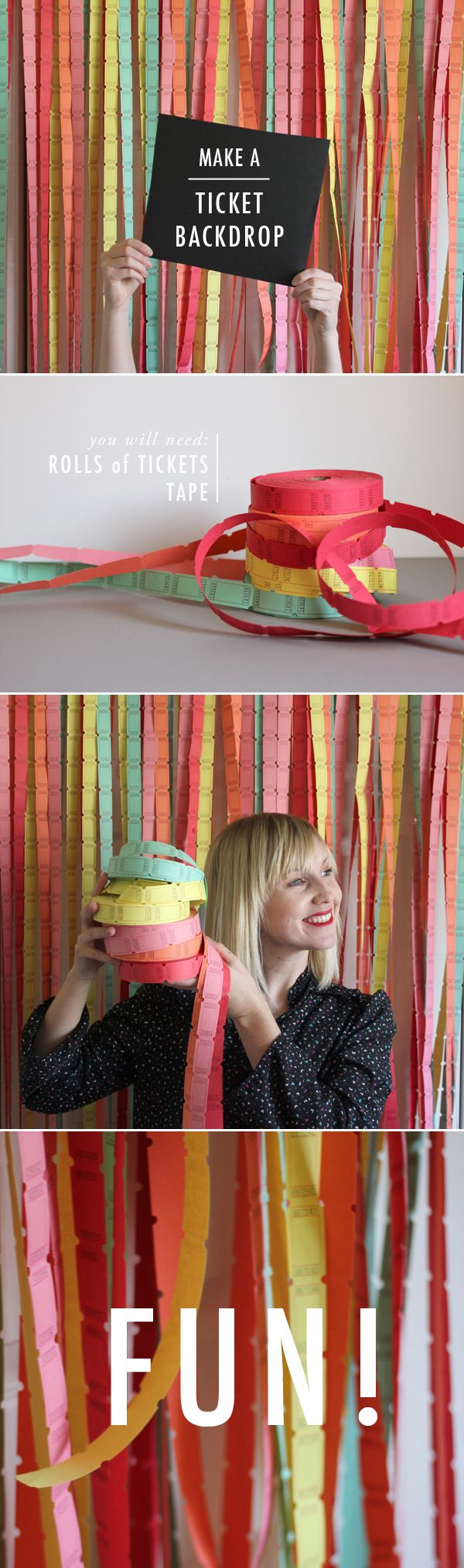 Another good idea that never crossed my mind. How fun is this?! DIY ticket backdrop for a photobooth