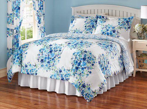Addison Reversible Mini Comforter Set Blue Flowers Full