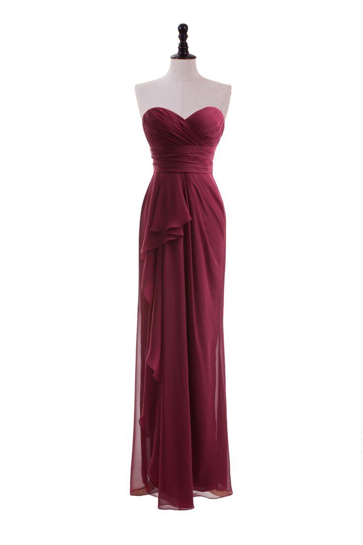 Sweetheart Chiffon Dress with Side-Draped Skirt