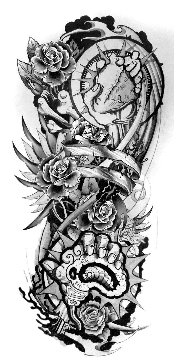 Sleeve Tattoo Designs Drawings On Paper Design Sleeve