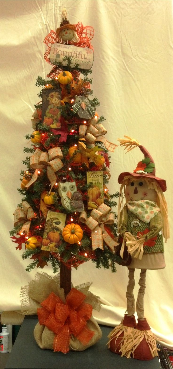 Fall tree decorated with owls, scarecrows and burlap