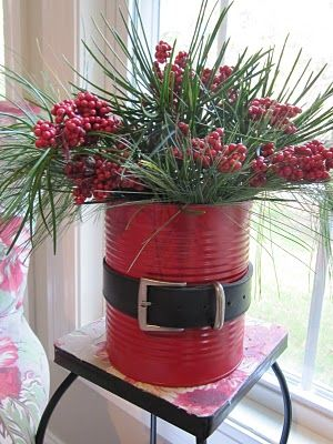 Holiday Tin~ spray paint a can and decorate with a belt like Santa – great to use as a centerpiece or a container for holiday