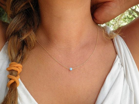Opal Necklace, Tiny One 4mm Blue Opal Necklace, 14K Gold Filled Necklace, Opal Jewelry, Minimalist Pendant, Delicate Necklace on